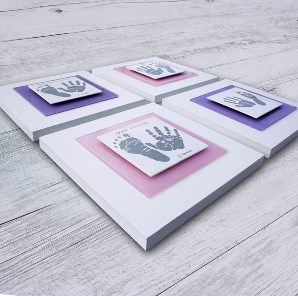 Enamel Baby hand and footprint frame pink and purple square