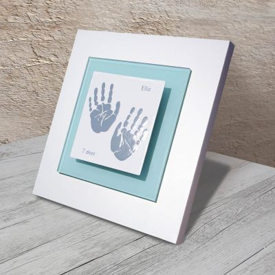 Enamel Baby handprint frame aqua square