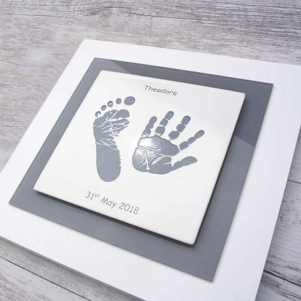 Enamel Baby hand and foot print frame grey square