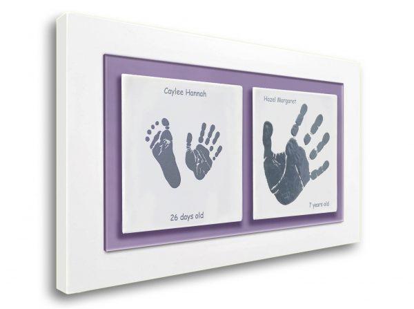 Siblings Baby keepsake frame handprints & footprints pruple