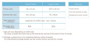 Enamel Baby handprint and footprint Keepsake Frame size guide
