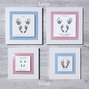 Baby hand and footprint keepsake frames which size