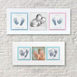 Twins Enamel baby keepsake frame handprints, footprints & baby photo