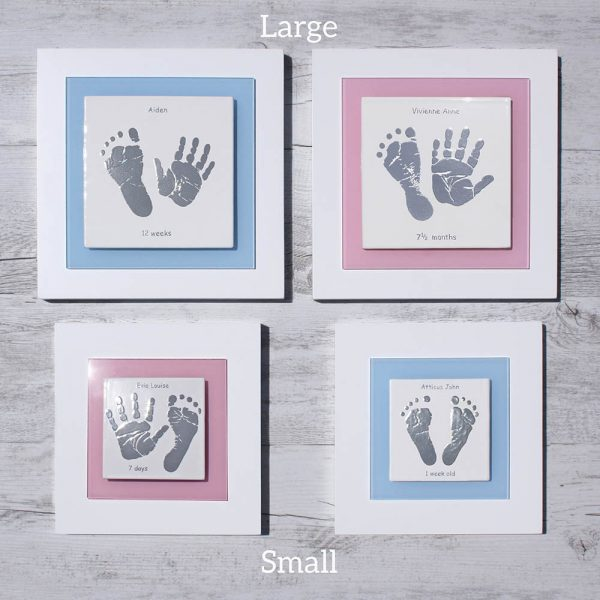 Enamel Baby handprint and footprint frame size guide