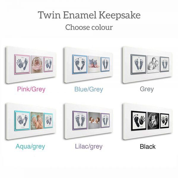 Twin Enamel baby keepsake frame handprints, footprints & baby photo