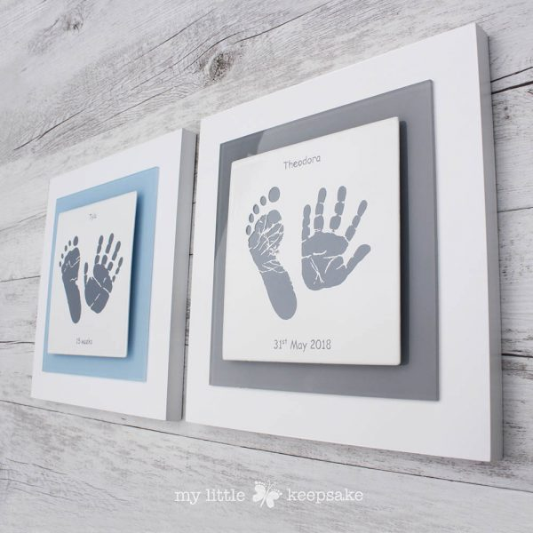 Enamel Baby hand and footprint frame grey and blue square