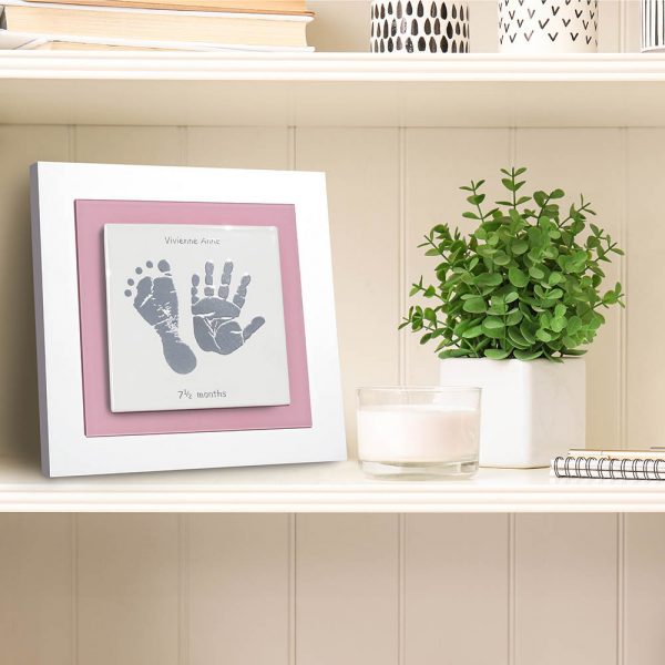 Enamel Baby hand and foot print frame pink square