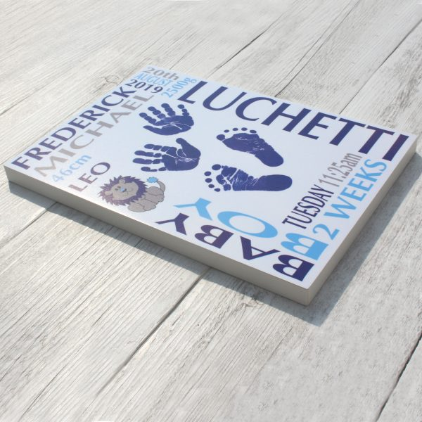 Baby name frame block mount print large blue and biege