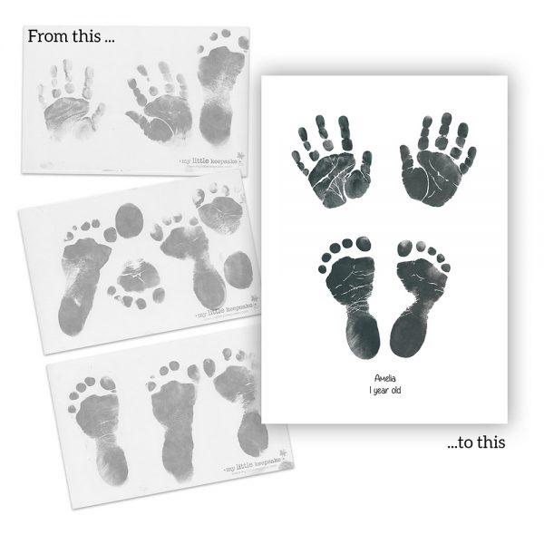 Printable birth announcement newborn baby handprints & footprints inkless print