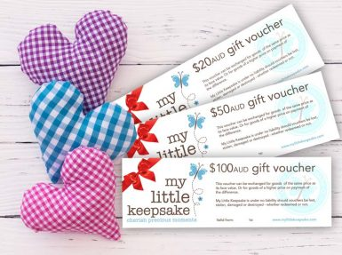 Keepsake gift vouchers cetificate