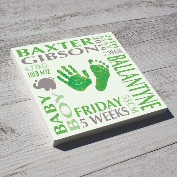 Baby name frame block mount print green