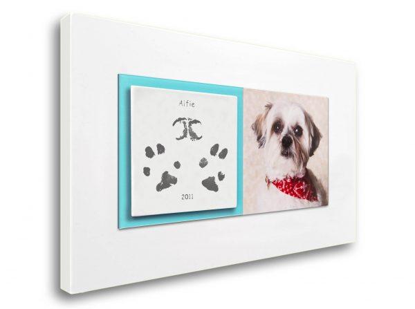 Pet paw prints enamel keepsake frame with photo