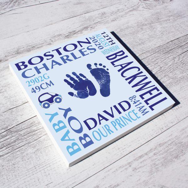 Baby name frame block mount print blue