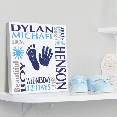 Baby boy name frame block mount print