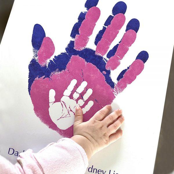 family prints keepsake hands blue block
