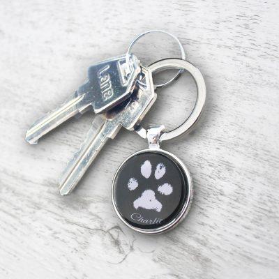 Pet dog paw print keepsake keyring