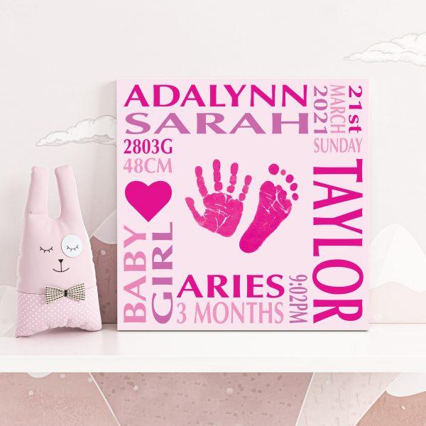 Baby name frame block mount print pink