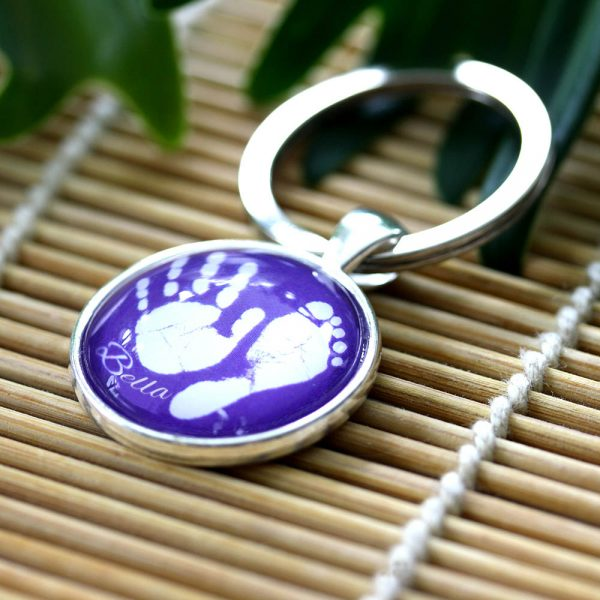 Personalised keyring with baby hand and footprint