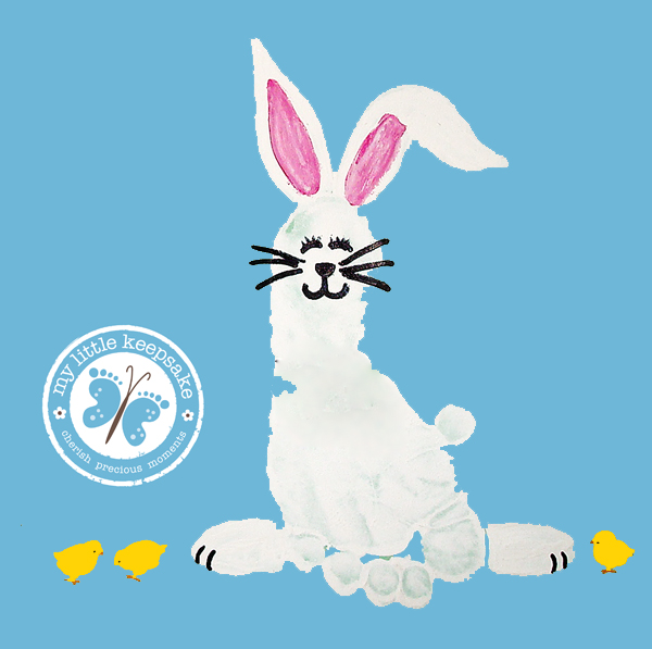 Easter Bunny Baby Footprint Craft Idea