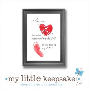 Father's day handprint & Footprint frame & quote