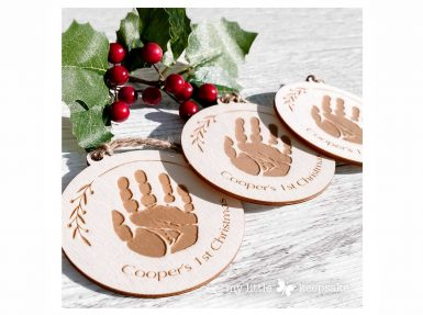 Personalised Christmas decoration baby handprint