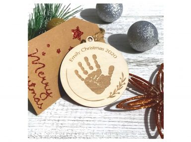 Wooden personalised christmas decoration baby's first christmas