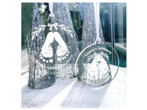 Personalised christmas tree decoration bauble, baby's 1st christmas