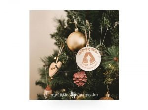 Wooden personalised christmas decoration baby's first christmas, mistletoes
