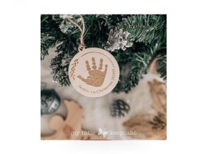 baby's first christmas handprint decoration