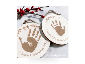 Wooden personalised christmas decoration baby's first christmas siblings