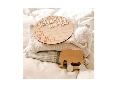 Personalised Wooden baby milestone disk hello world