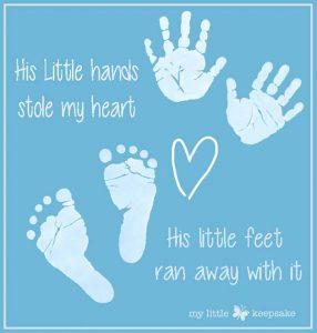 Valentines baby hand and footprints keepsake gift
