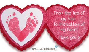 Baby footprints heart for valentines day card craft