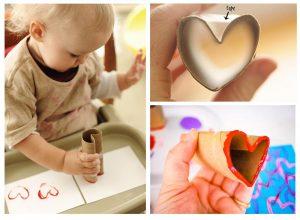toilet roll heart stamp valentines day craft activity