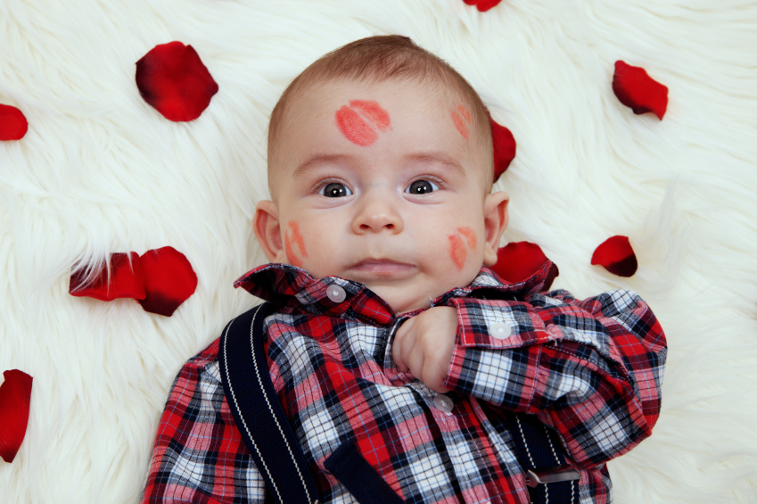 cute valentines baby with kisses
