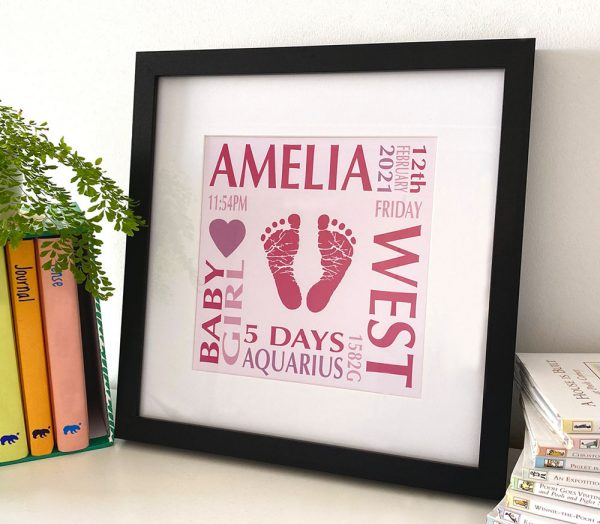 Baby name frame with print birth details