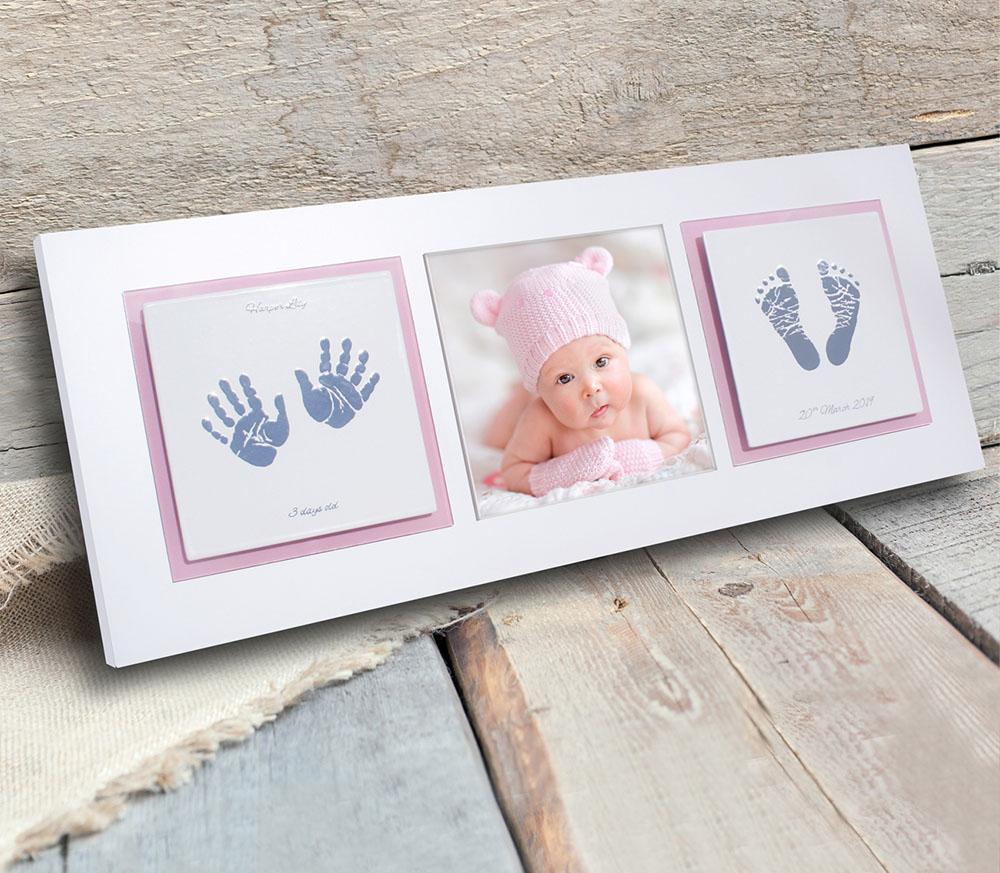 New born baby keepsake frame - baby handprints and footprints