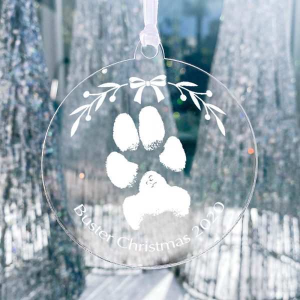 Pet Pawprint acrylic personalised christmas decoration