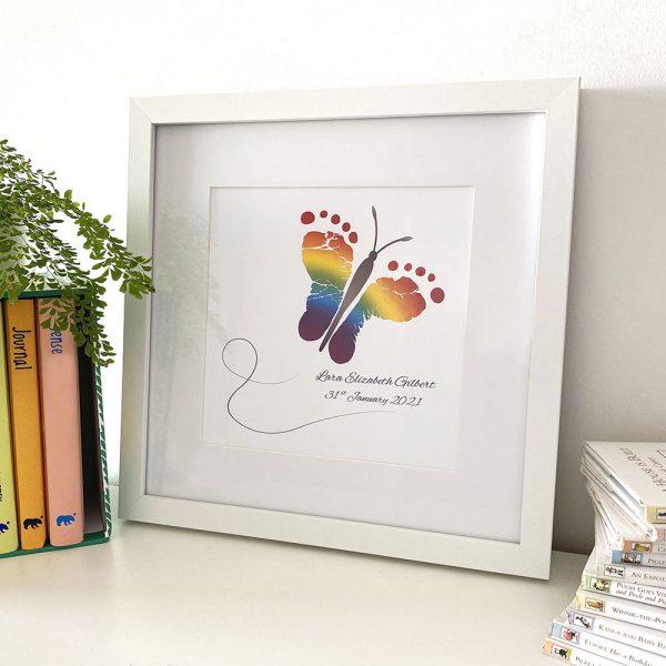 Butterfly baby feet, footprints framed