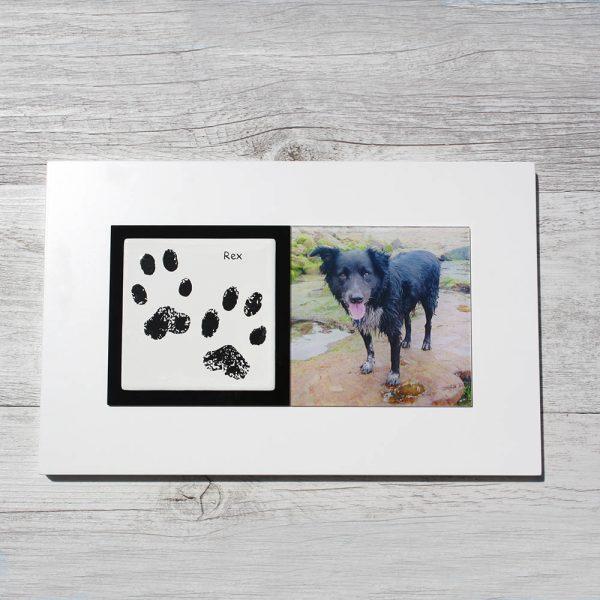 Pet paw prints enamel keepsake frame
