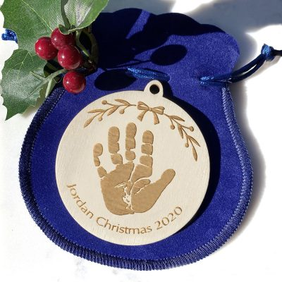 Baby's first Christmas Wooden engraved personalised christmas tree decoration bauble with handprint or footprint