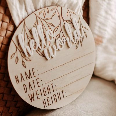 Hello Fern Hello World Birth Announcement wooden disc