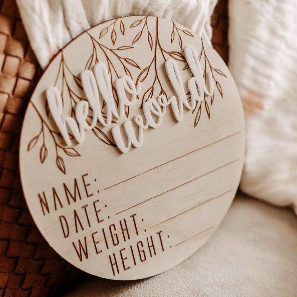 Hello Fern Hello World Birth Announcement wooden disc
