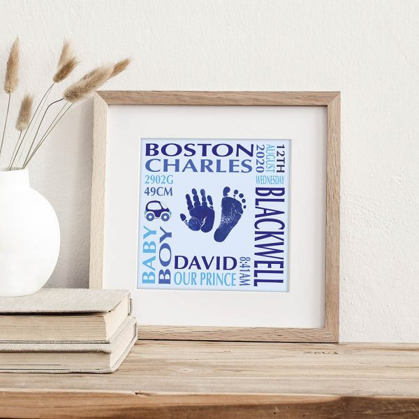 Baby name frame with birth details