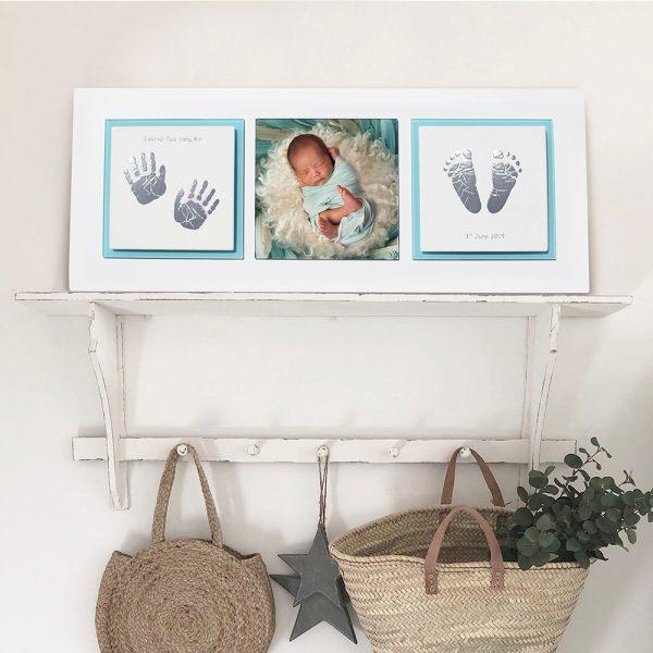 Enamel baby keepsake frame handprints, footprints & baby photo aqua grey