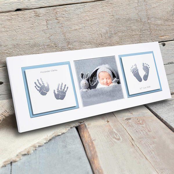 Enamel baby keepsake frame handprints, footprints & baby photo blue, grey