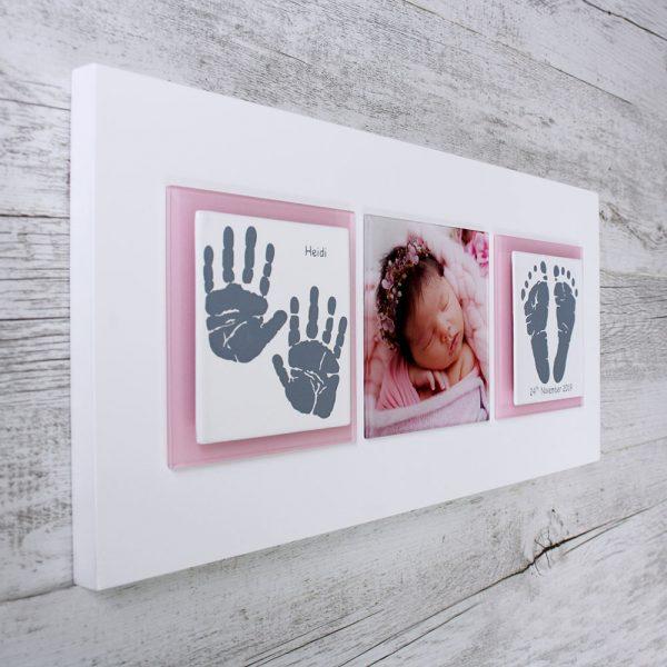 Enamel baby keepsake frame handprints, footprints & baby photo