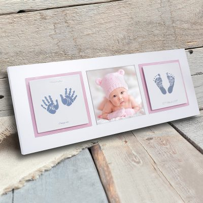 Enamel baby keepsake frame handprints, footprints & baby photo